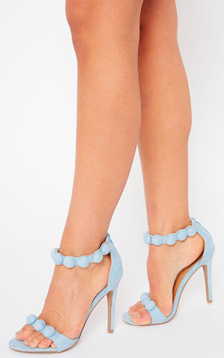 Una Powder Blue Studded Strappy Heeled Sandals 1
