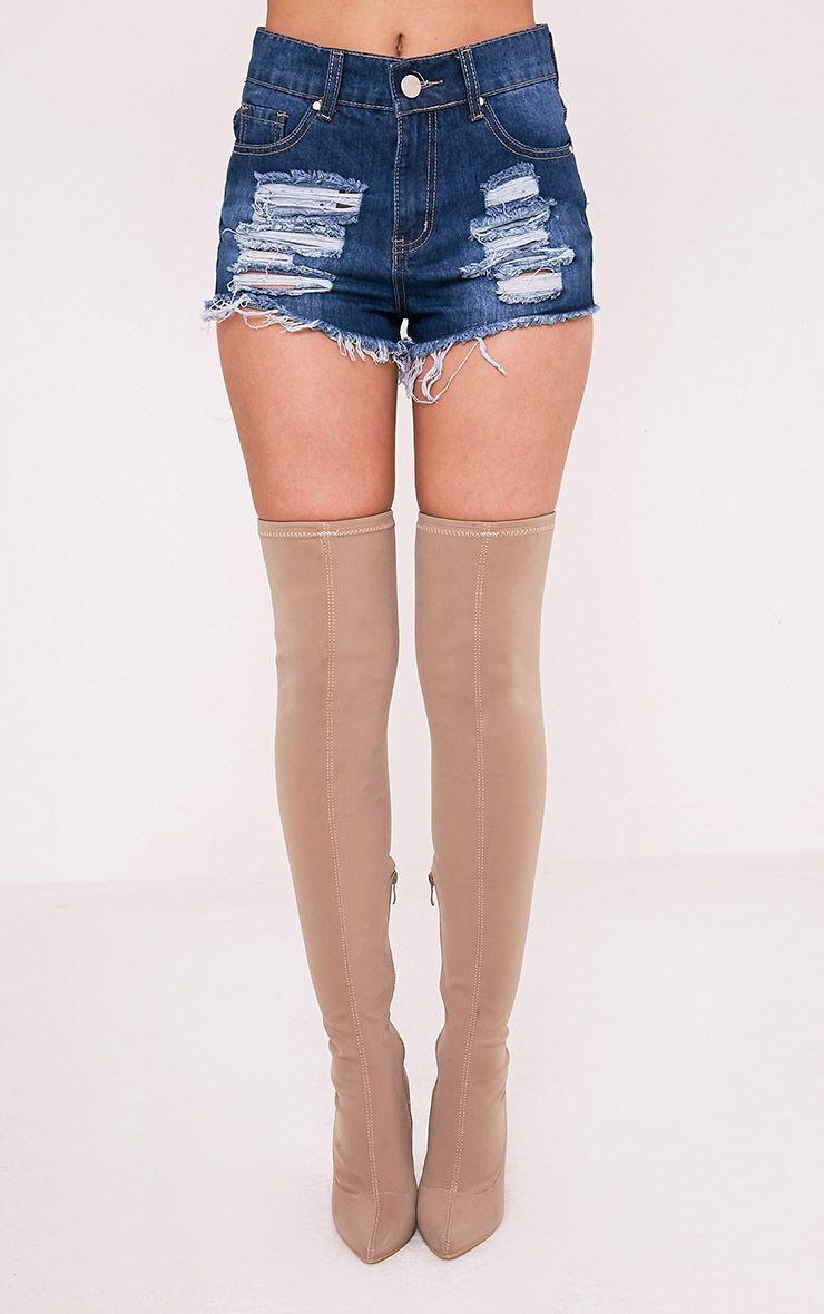 Elana mini short en jean déchiré délavage moyen 2