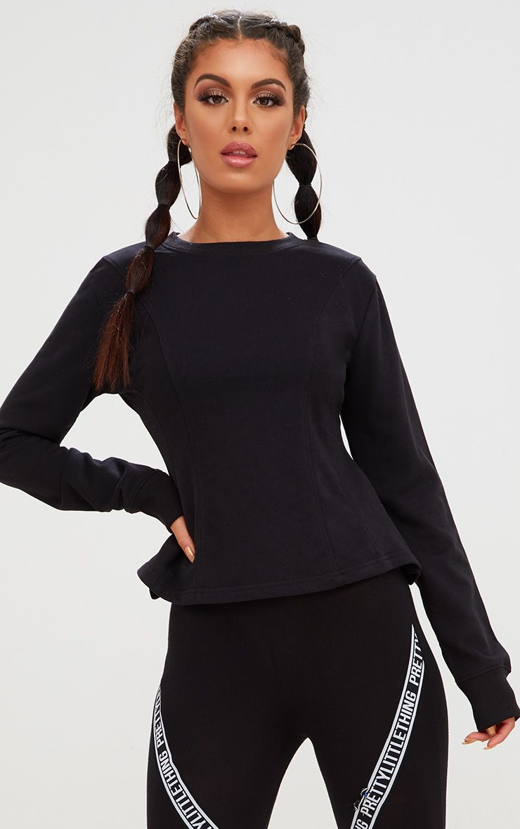 Black Corset Seam Detail Sweater