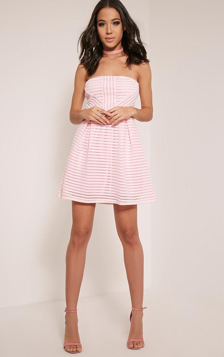 Talisa Baby Pink Bandeau Ribbed Detail Skater Dress 1