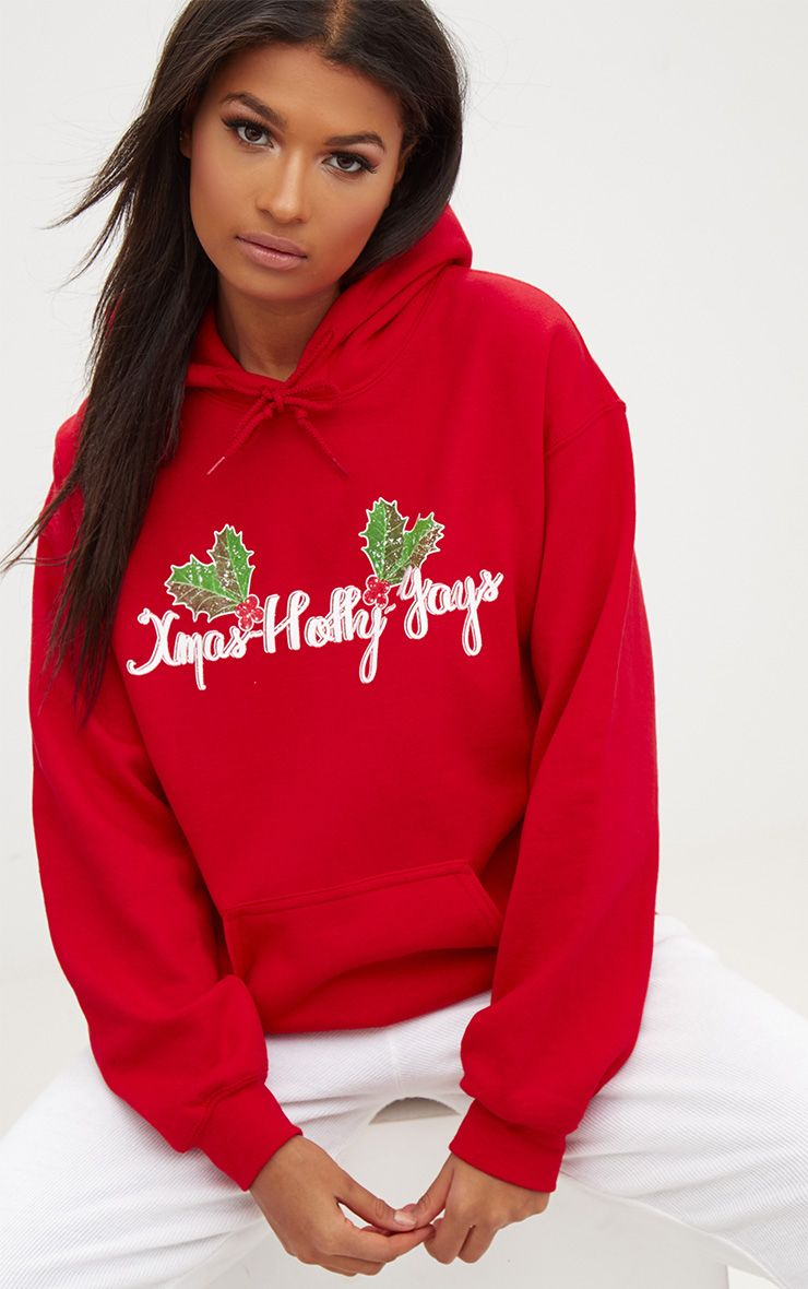 Red Happy Holly Yays Christmas Slogan Hoodie