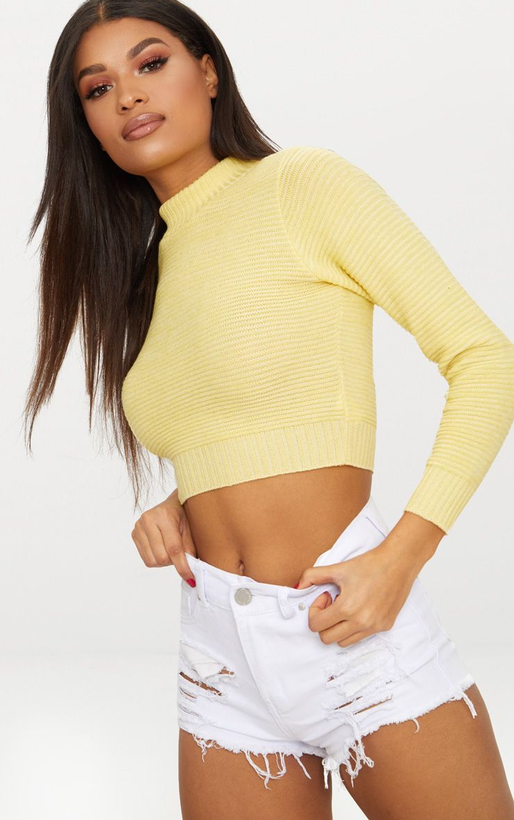 Lemon Ribbed Cropped Knitted Jumper