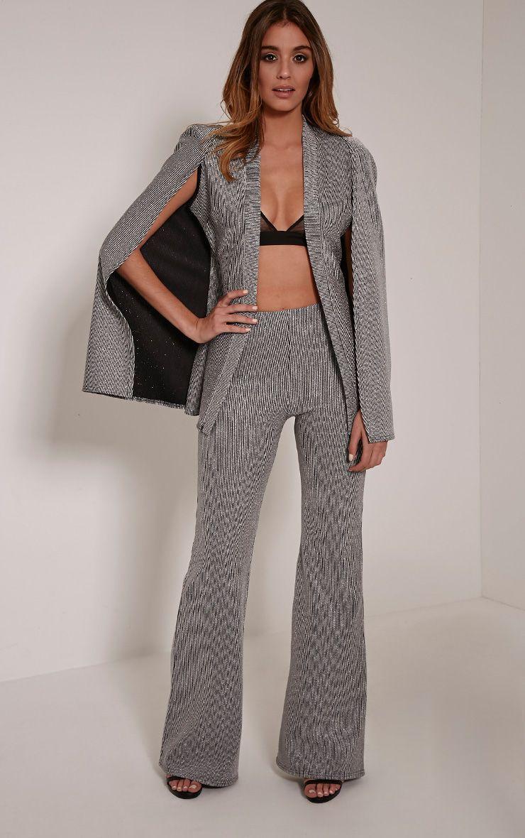 Rita Silver Metallic Ribbed Palazzo Trousers 1