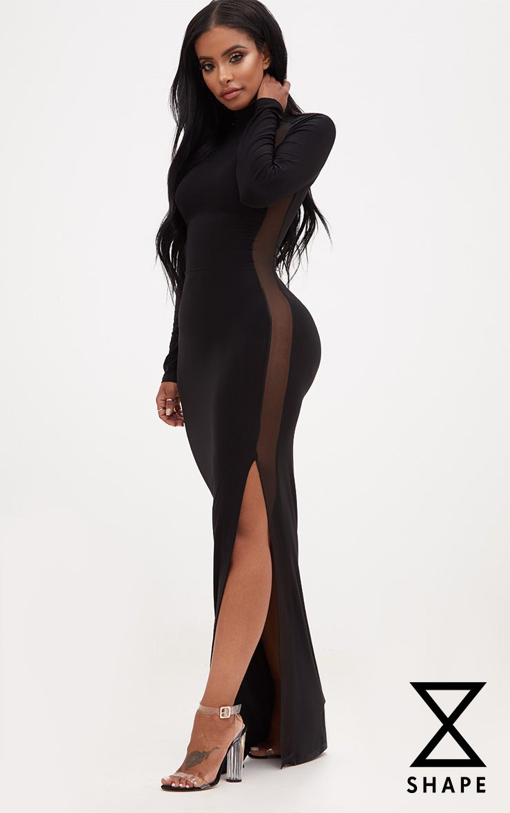 Shape Black Slinky Mesh Insert Maxi Dress