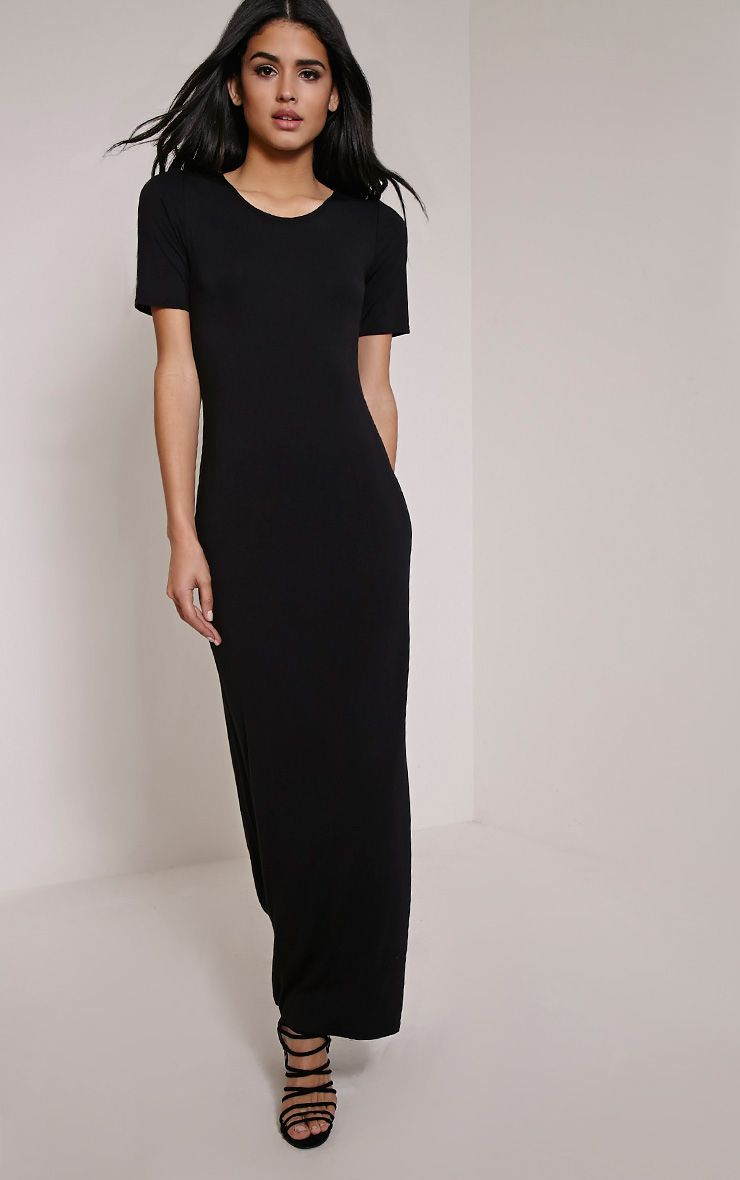 Basic Black Round Neck Maxi Dress 1