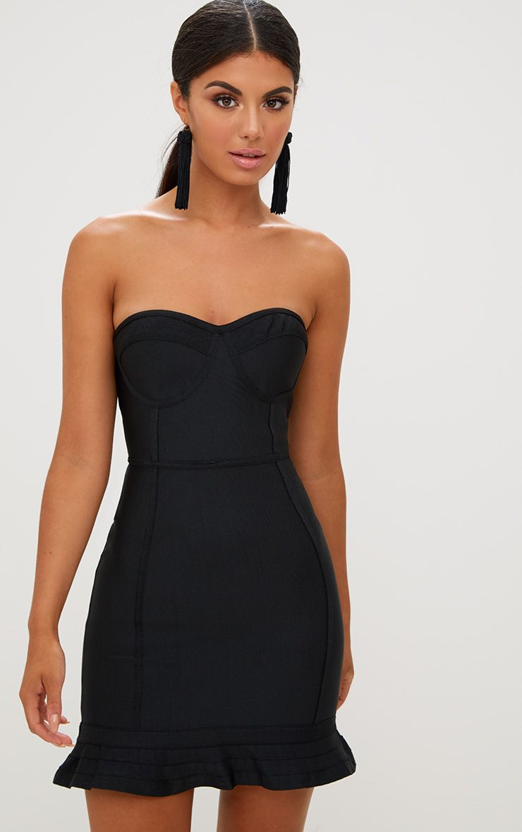 Black Bandage Frill Hem Bodycon Dress