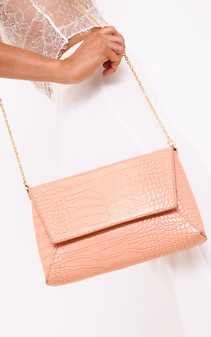 Blush Reptile Structured Shoulder Bag