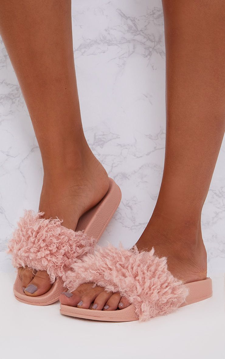 Blush Faux Shearling Sliders