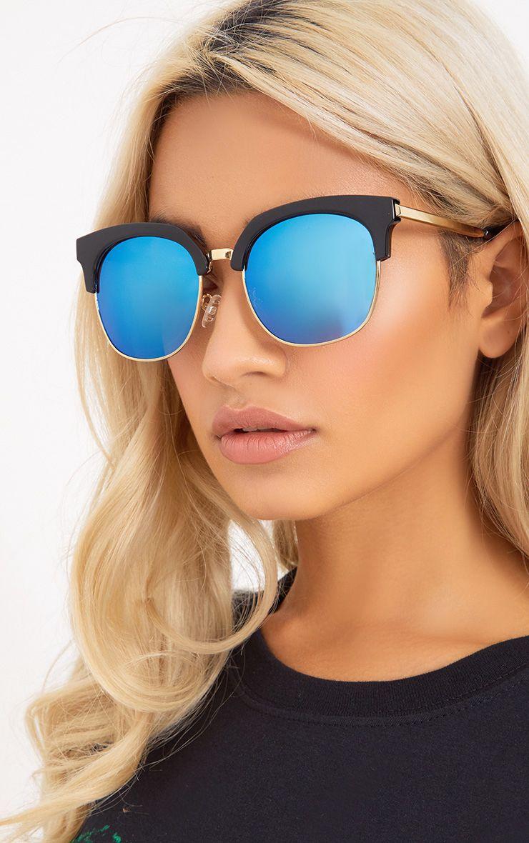 Rose Gold Mirrored Frame Cat Eye Sunglasses