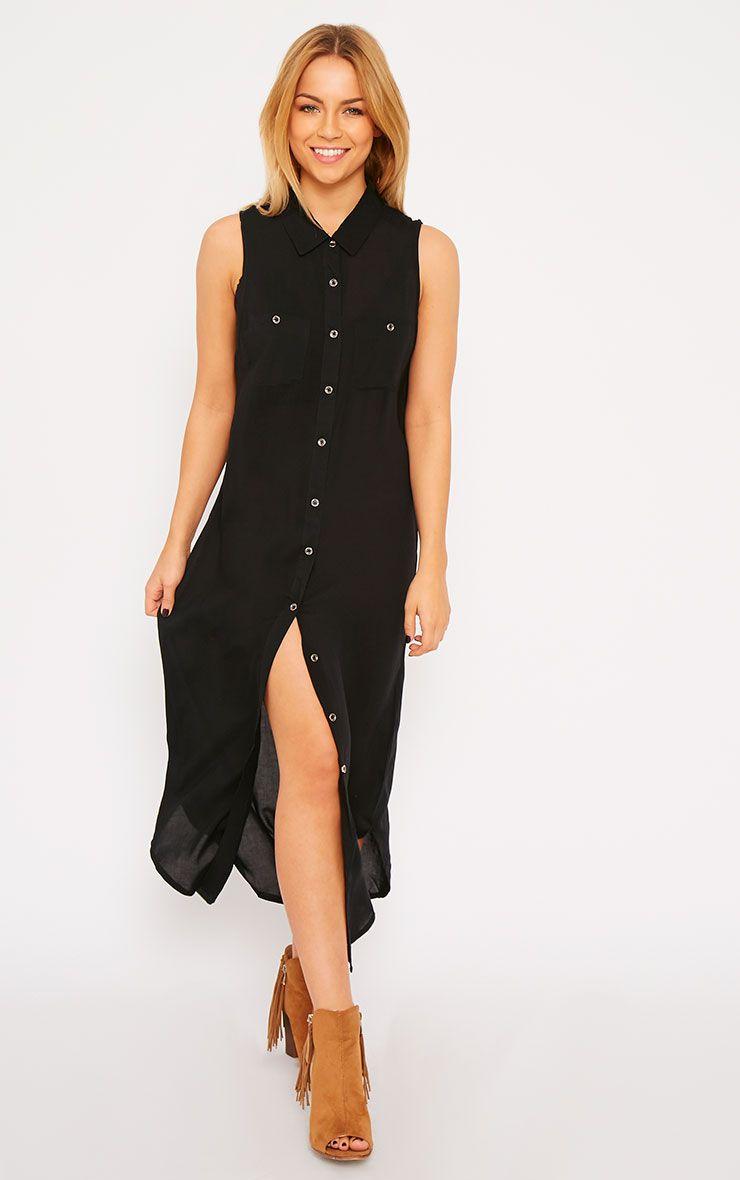 Marja Black Sleeveless Shirt Dress 1