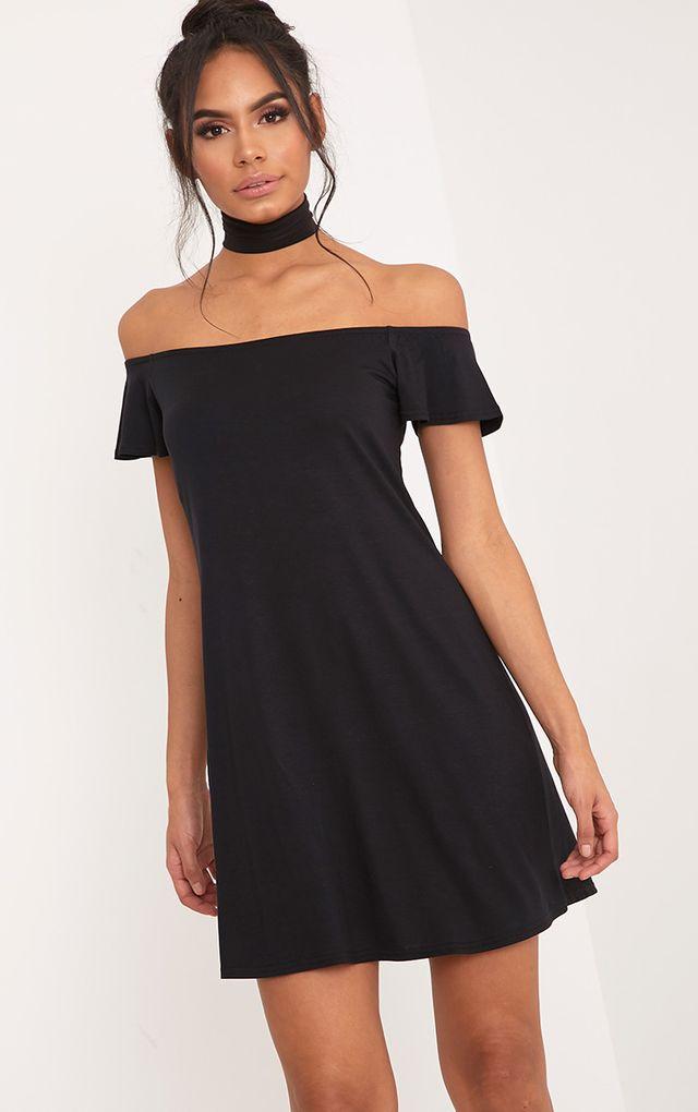 Manina robe droite bardot en jersey noire