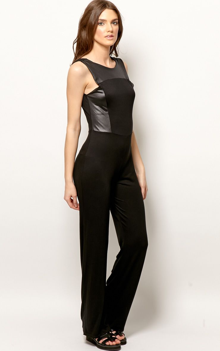 Evie Black & Leather Panel Jumpsuit 1