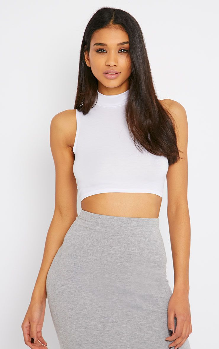 Basic White Jersey High Neck Crop Top 1