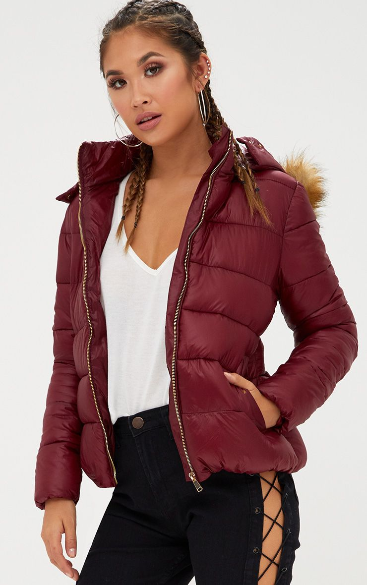 Burgundy Puffer Jacket with Faux Fur Hood
