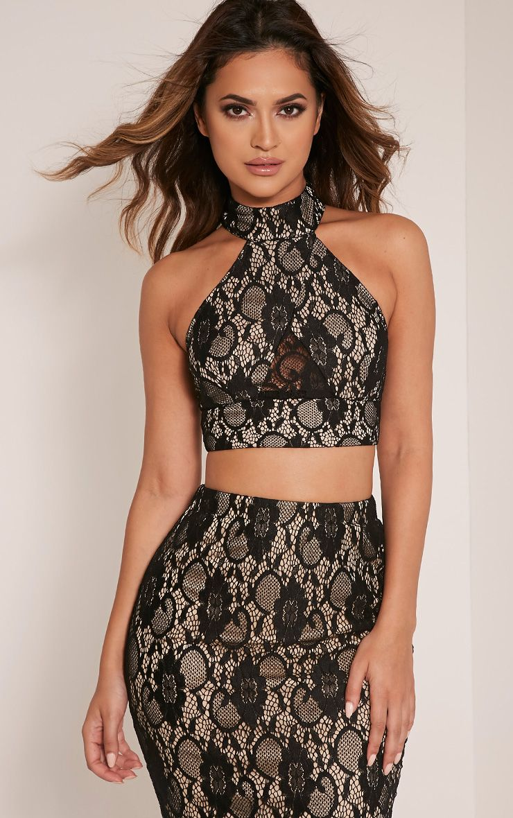Anura Black Lace Halterneck Crop Top 1