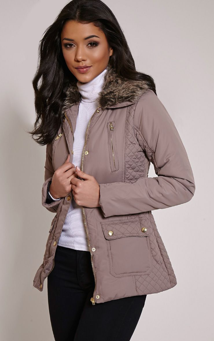 Eve Mink Faux Fur Collar Quilted Jacket 1
