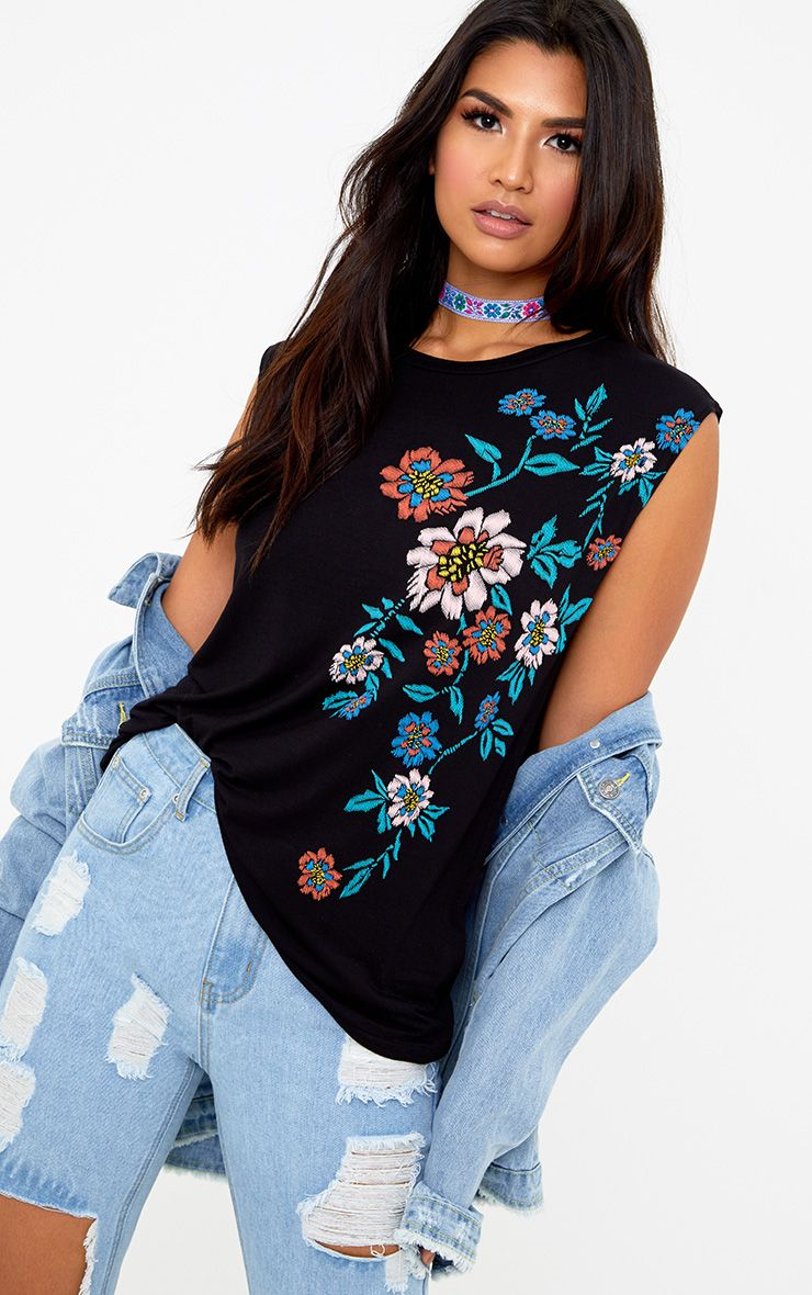 Black Floral Puff Print Vest