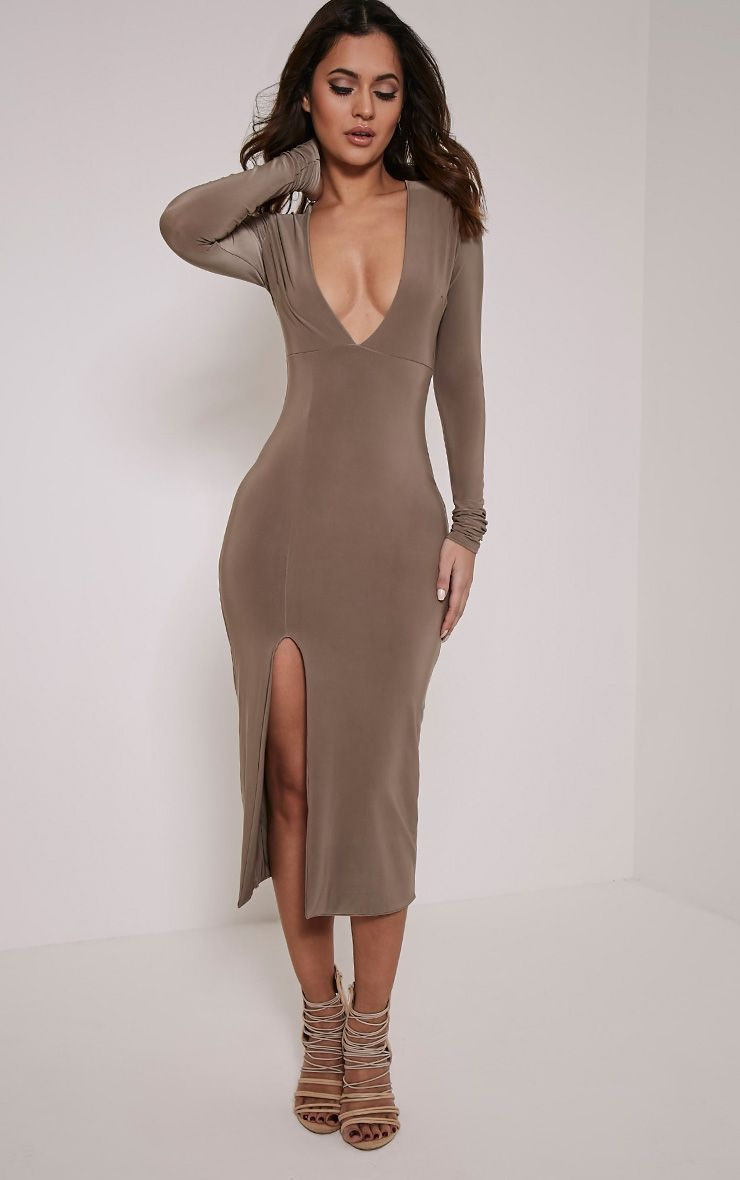 Christa Mocha Slinky Plunge Split Front Midi Dress
