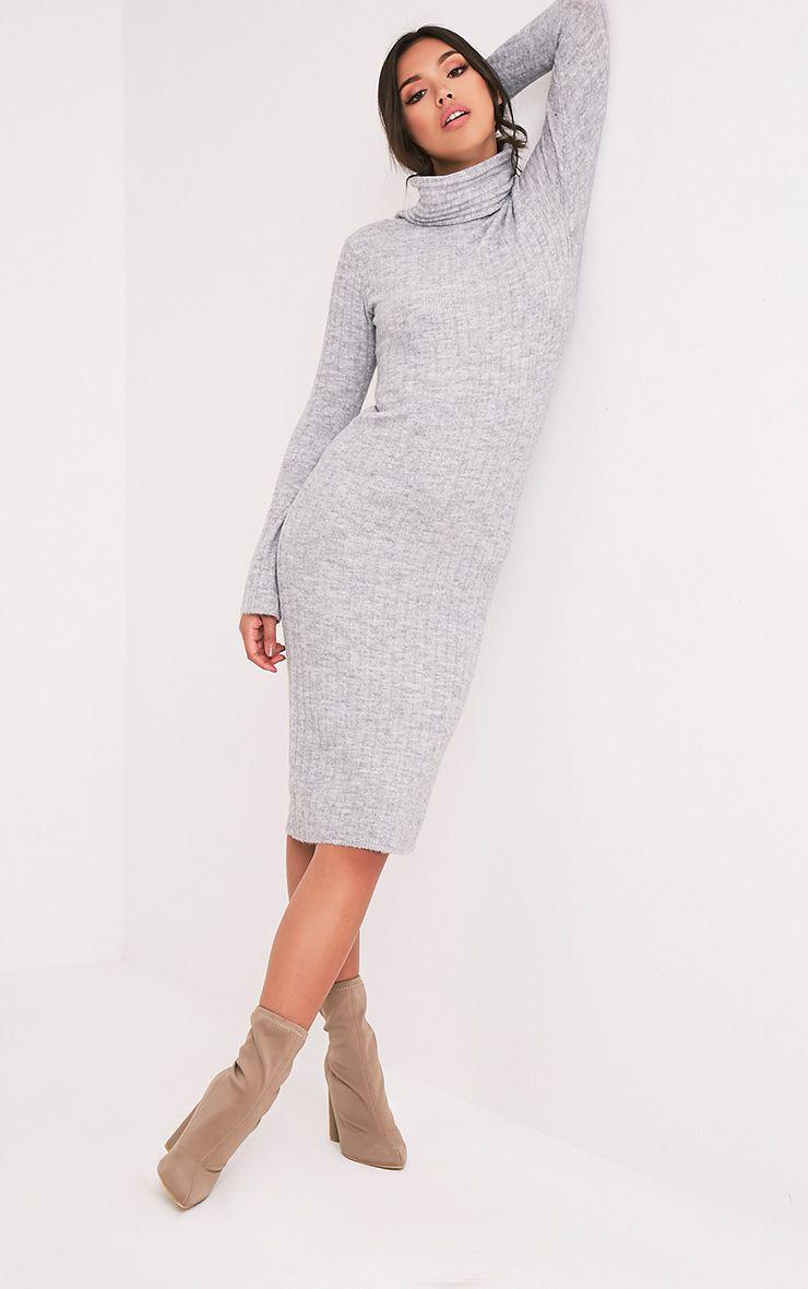 Elishiah robe midi côtelée souple à col roulé grise 5