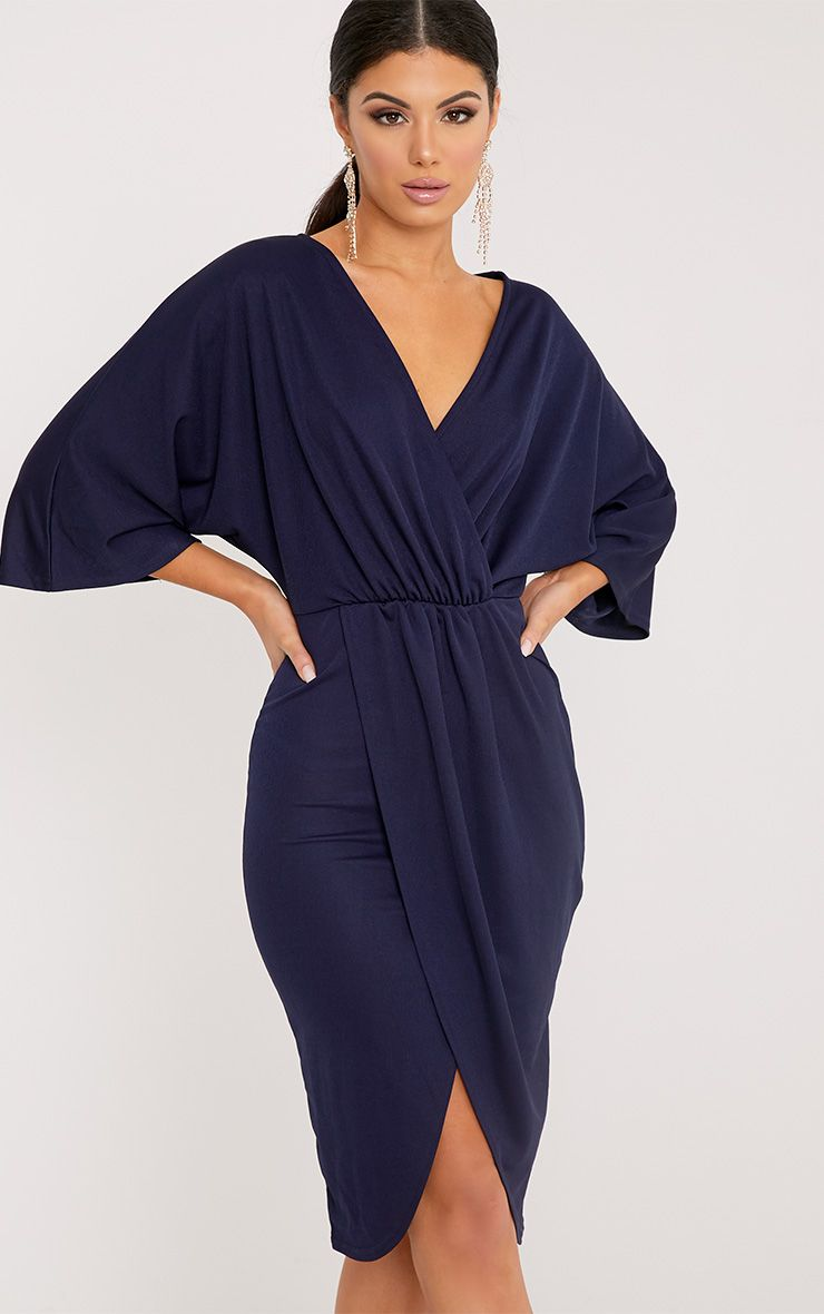 Archer Navy Cape Midi Dress 1