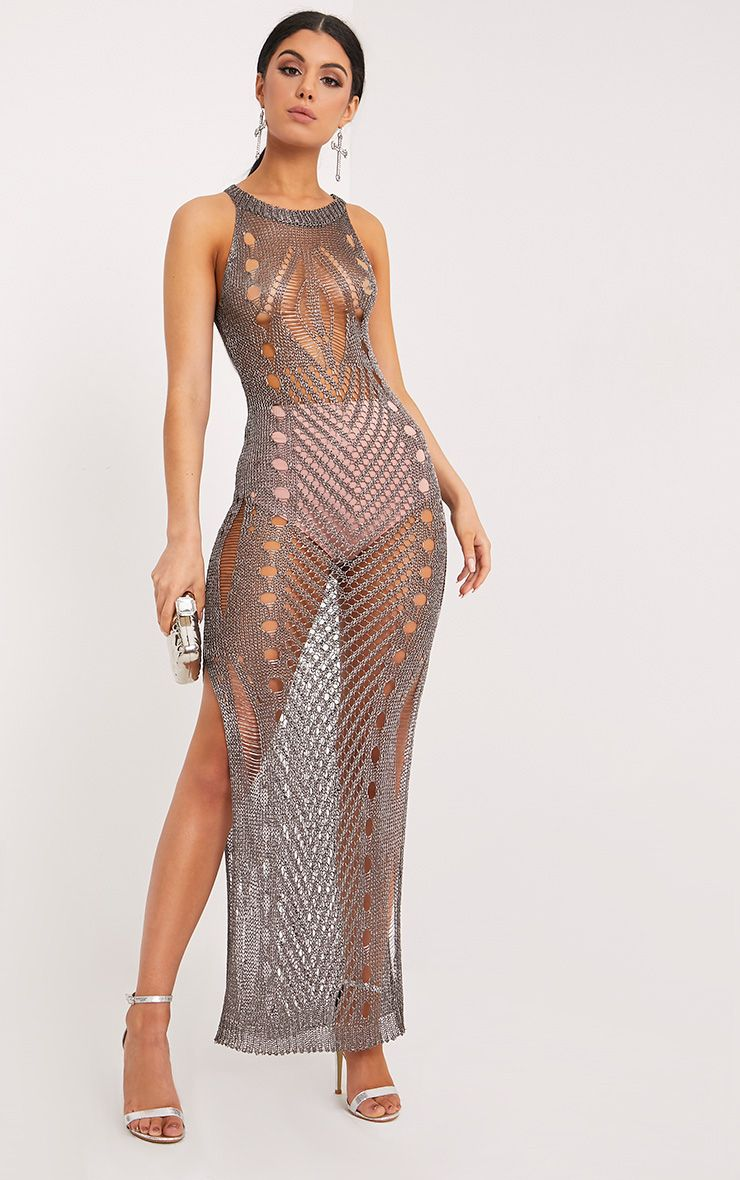 Donatella Gunmetal Metallic Pointelle Knit Maxi Dress