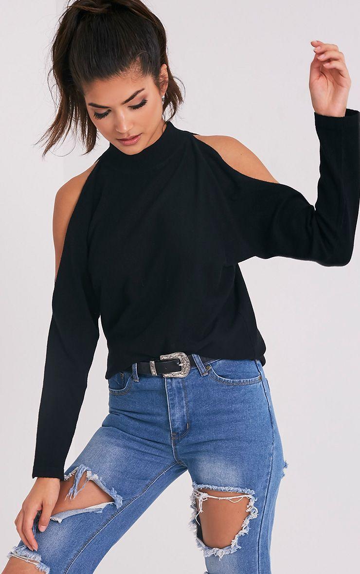 Shela Black Cold Shoulder Fine Knit Jumper 1