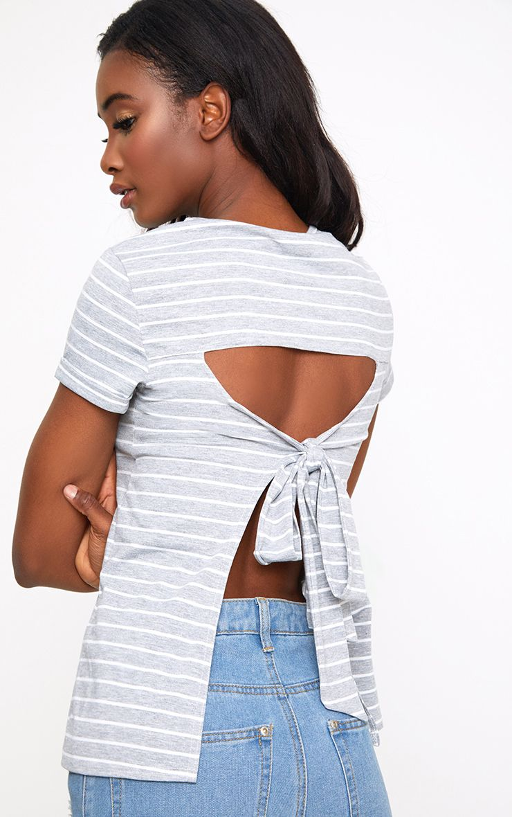 Grey Marl Stripe Open Back T Shirt