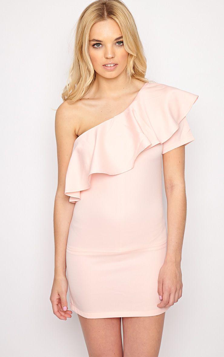 Alana Pink One Shoulder Bardot Dress 1