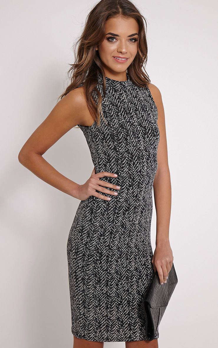 Lio Black Glitter Bodycon Dress 1