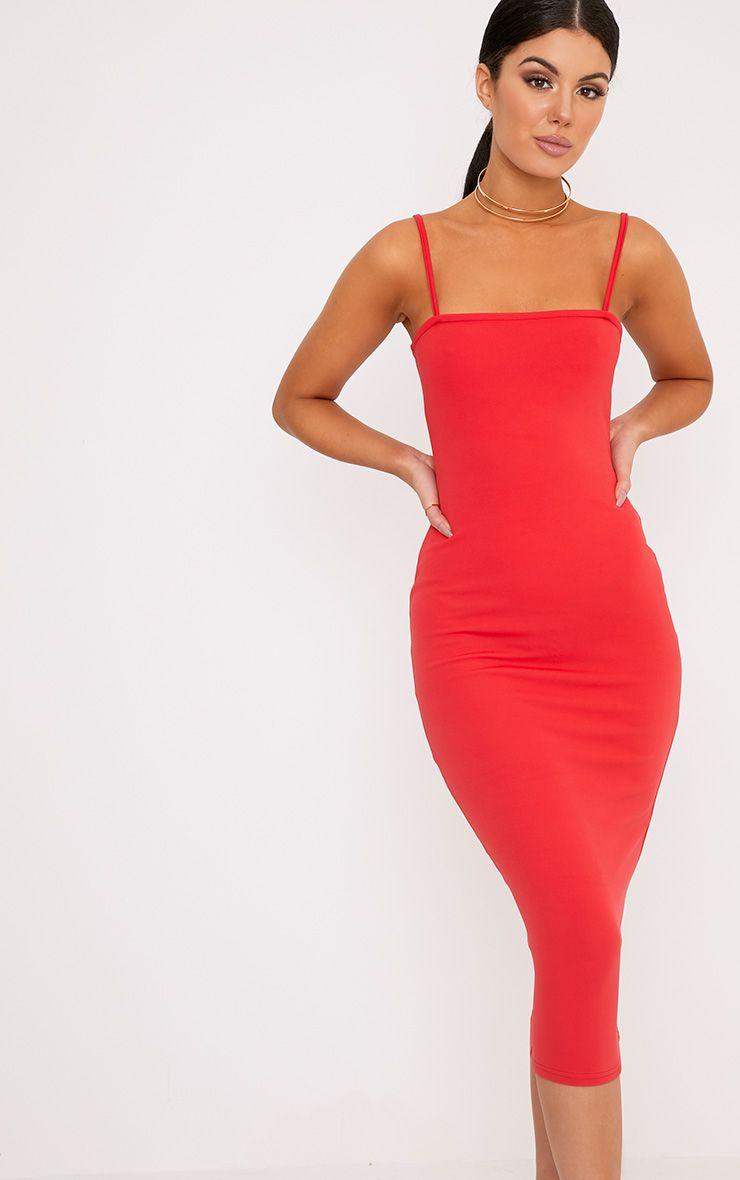 Jamila Red Straight Neck Midi Dress