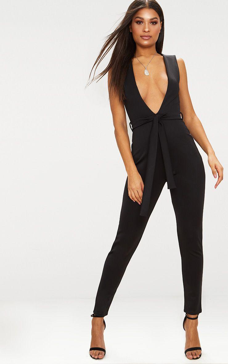 Black Scuba Plunge Tie Waist Jumpsuit