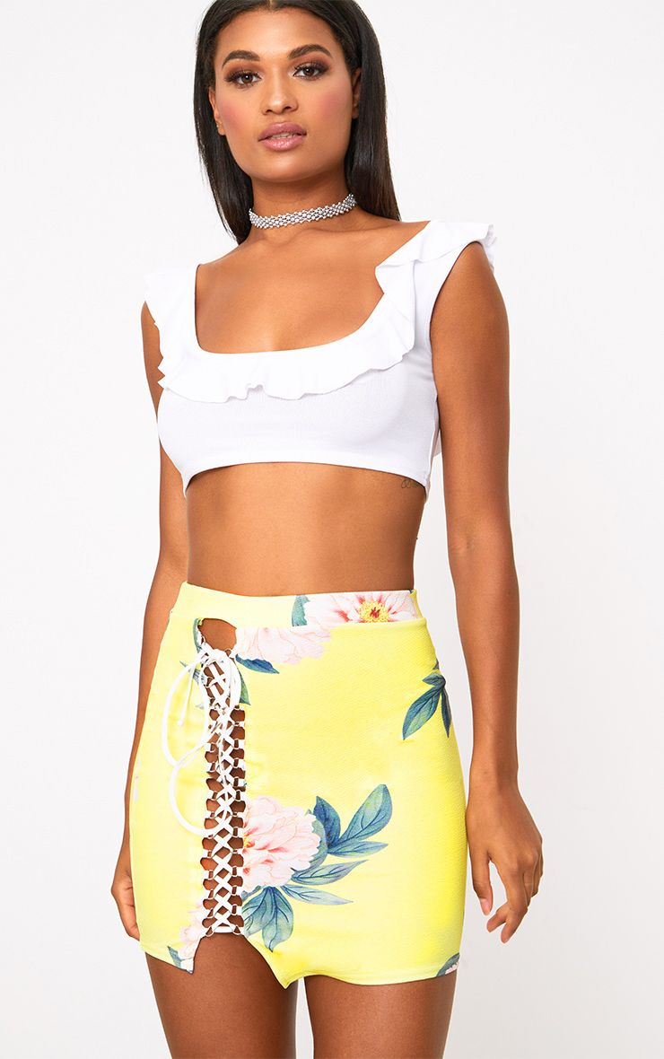 Yellow Floral Lace Up Asymmetric Hem Mini Skirt