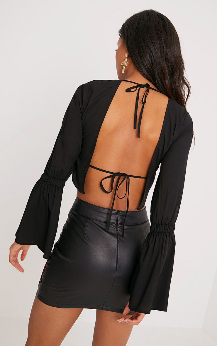 Skye Black Backless Flared Sleeve Blouse