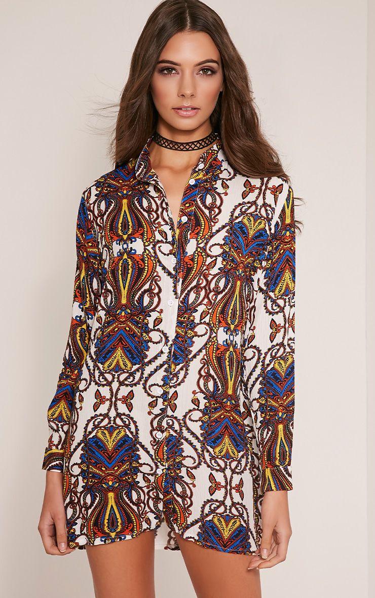 Simone Blue Paisley Oversized Shirt 1