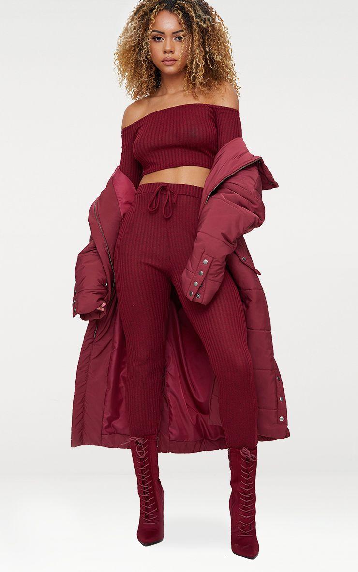 Burgundy Bardot Knit Set
