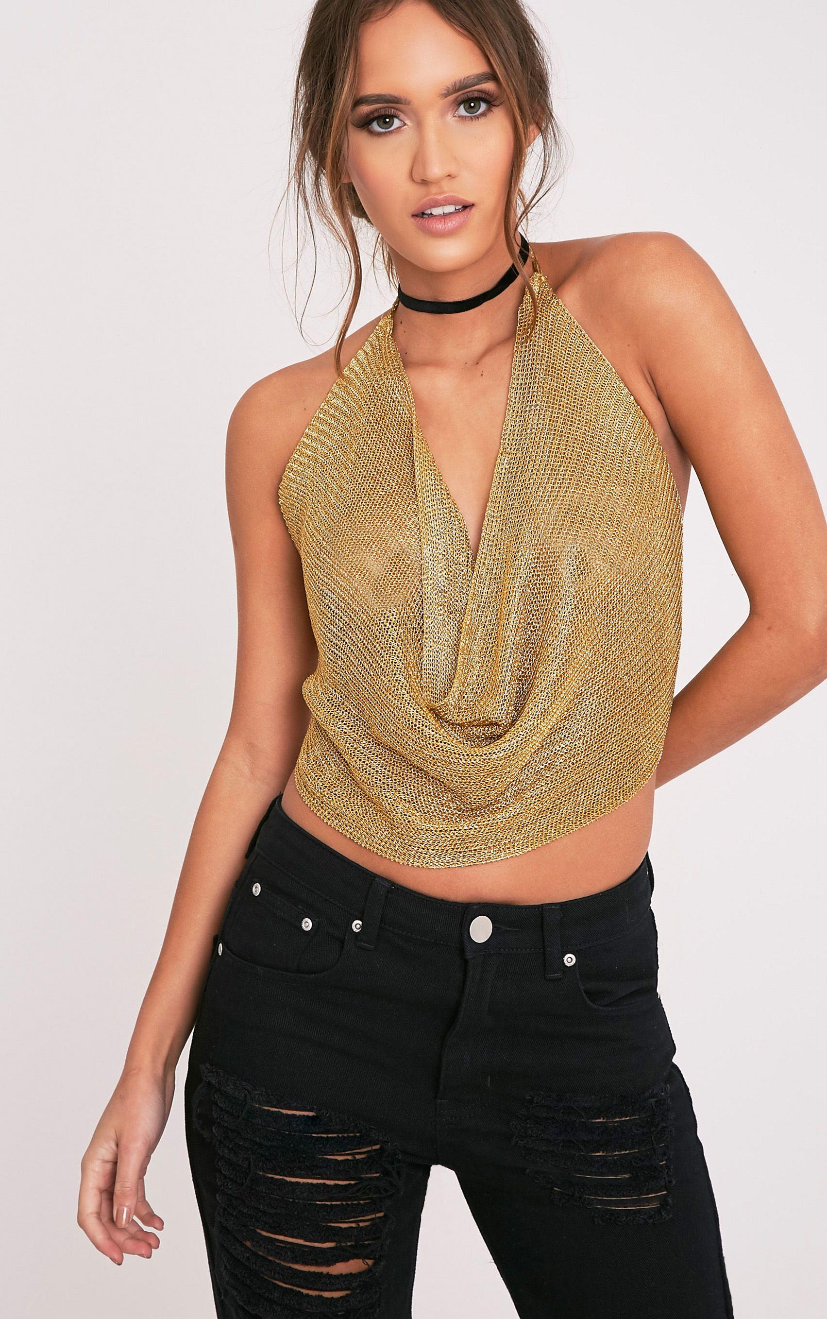 Aibreann Gold Metallic Knit Cowl Crop Top