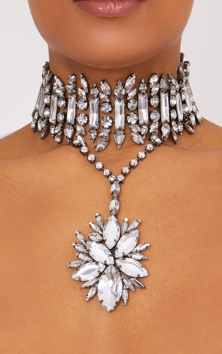 Orsla Gunmetal Jewel V Drop Choker