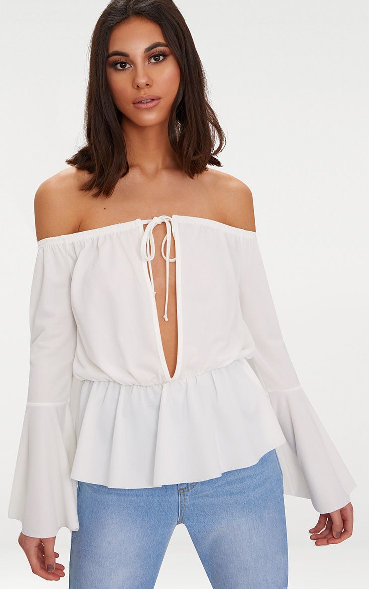 White Crepe Bardot Key Hole Top