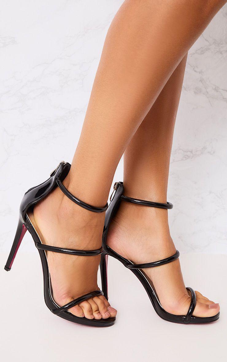 Marthea sandales à talons à brides noires effet tube
