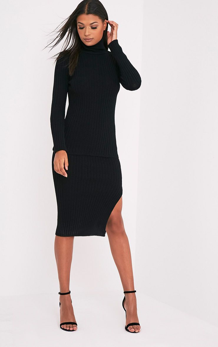 Usmelda Black Ribbed Knitted Midi Skirt