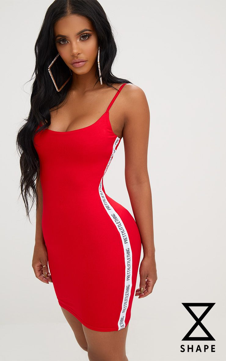 Shape Red PLT Band Cami Dress