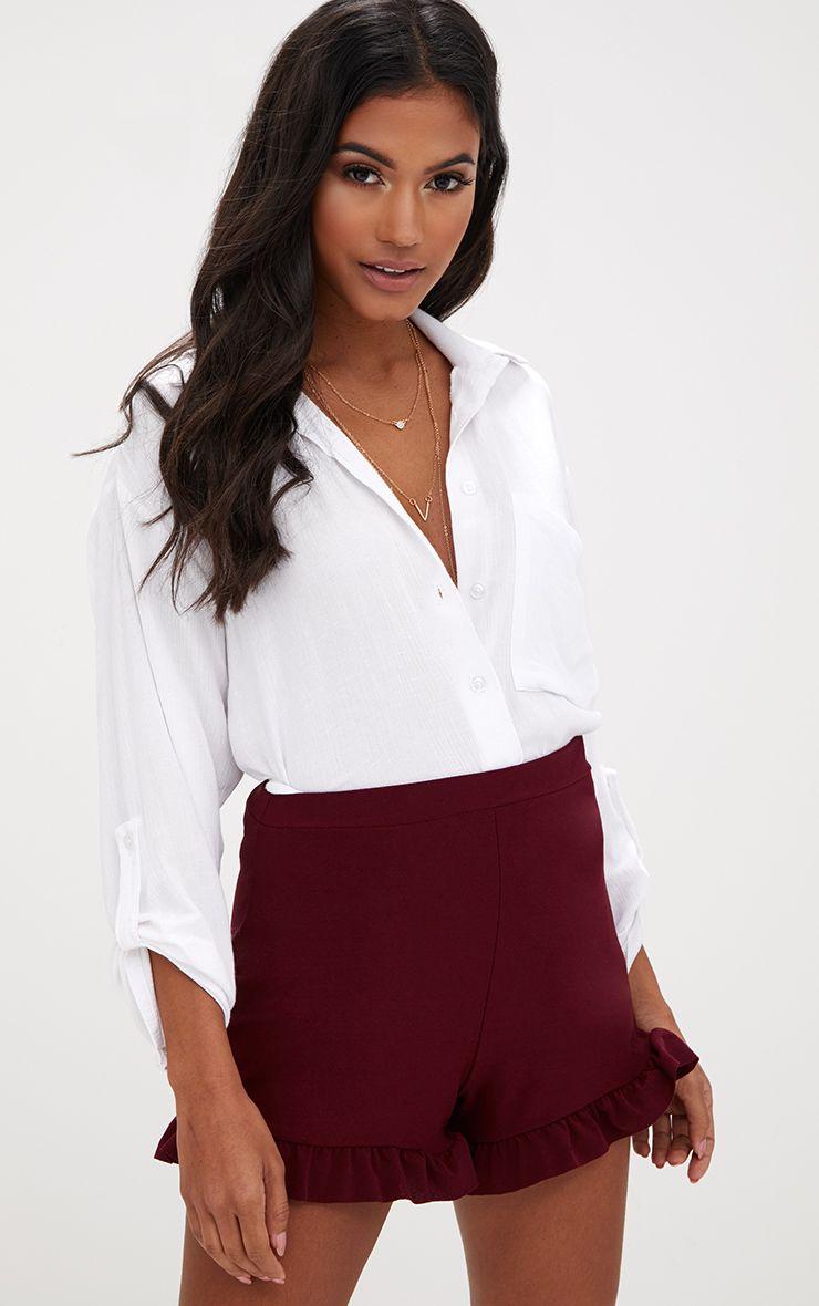 Burgundy Frill Hem Shorts