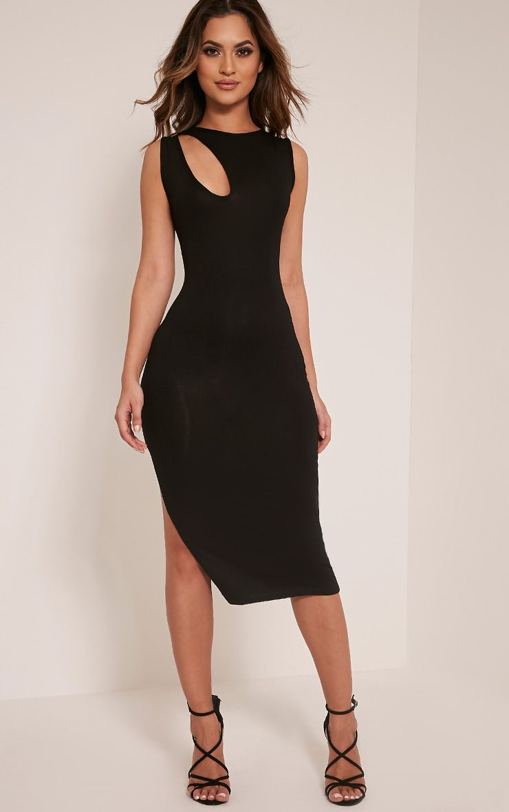 Tessa Black Cut Out Detail Jersey Midi Dress 1