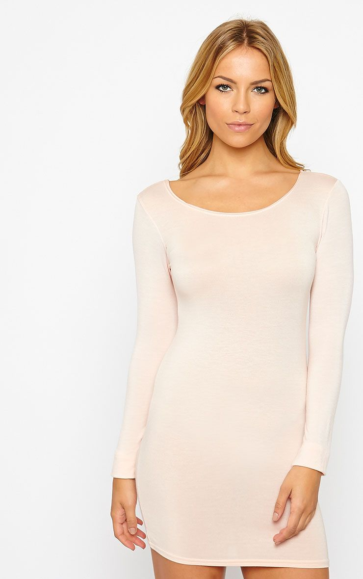 Basic Nude Long Sleeve Jersey Mini Dress 1