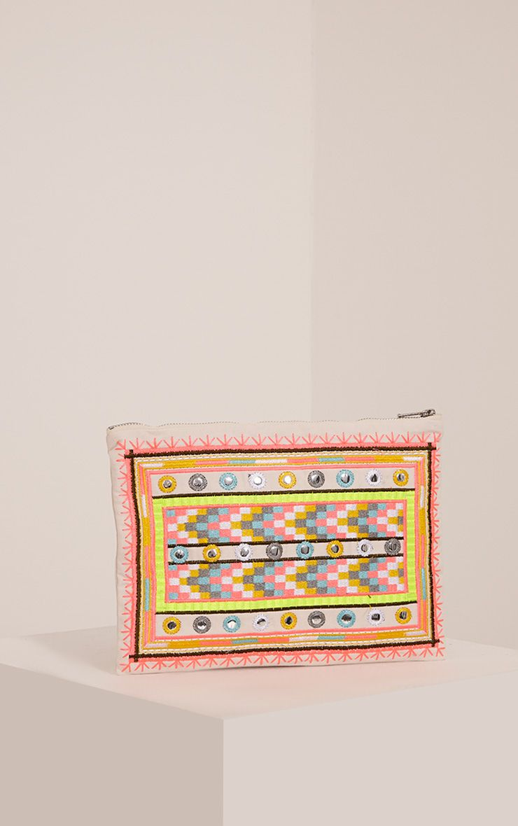 Madia Cream Aztec Patterned Clutch