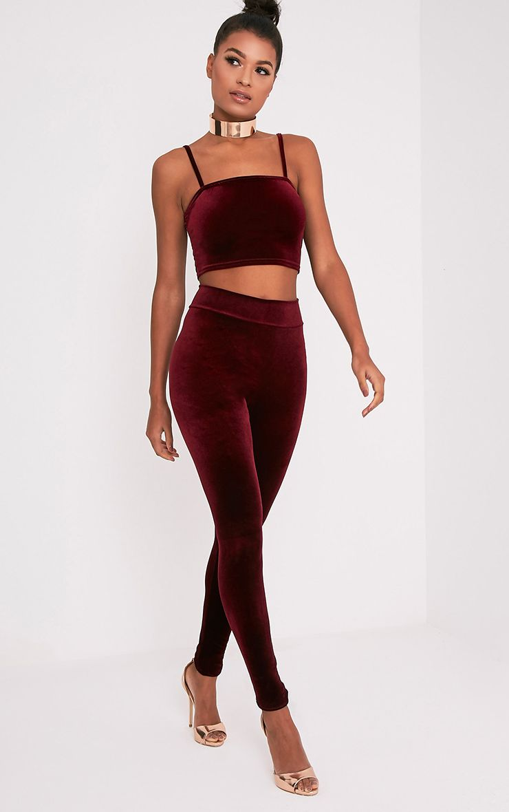 Eryn Berry Velvet High Waisted Leggings 1