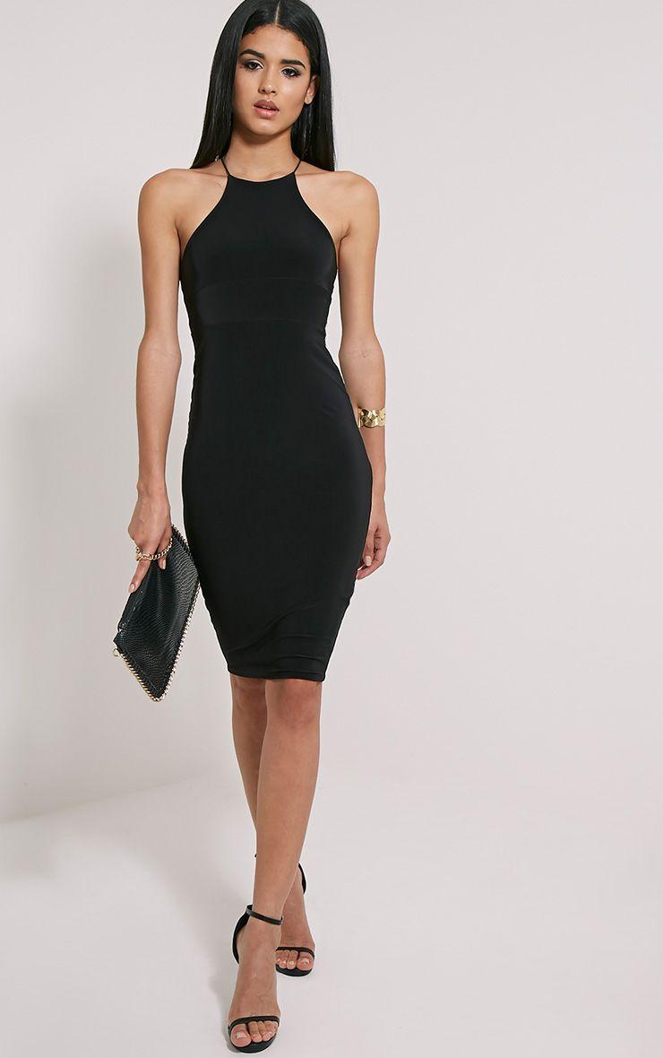 Mirabella robe midi noire près du corps bretelles croisées au dos 1