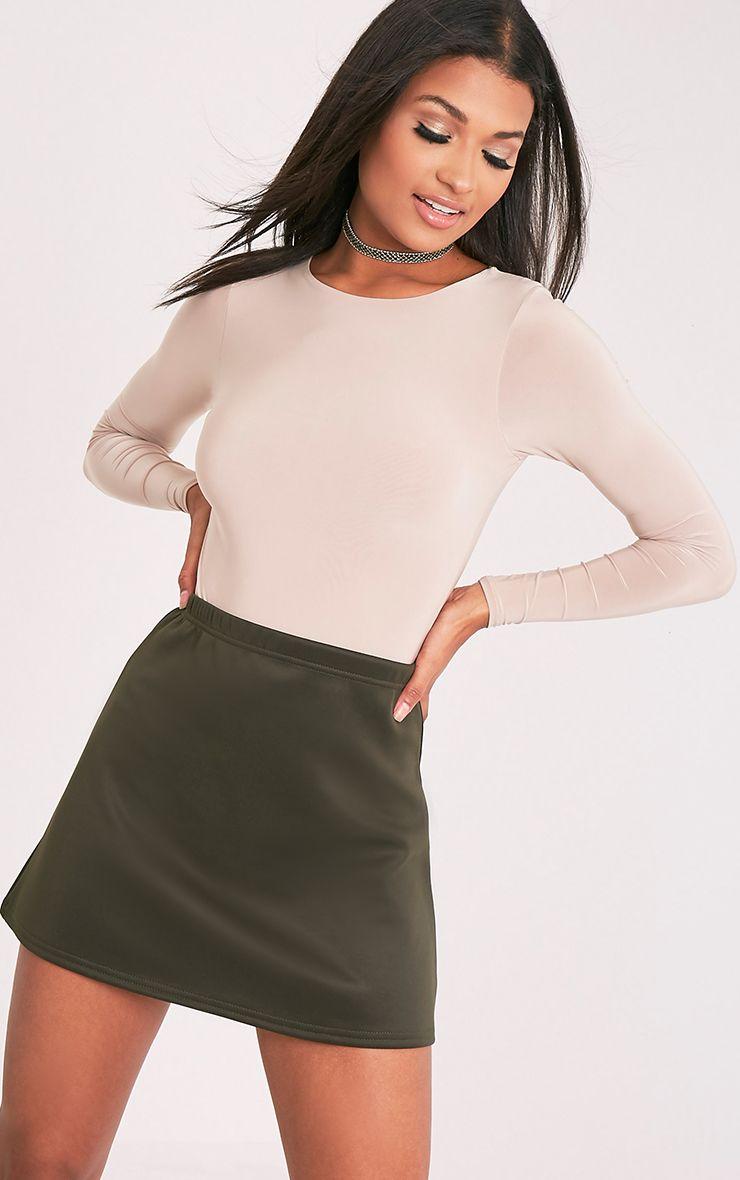 Jessica Khaki A-Line Mini Skirt 1