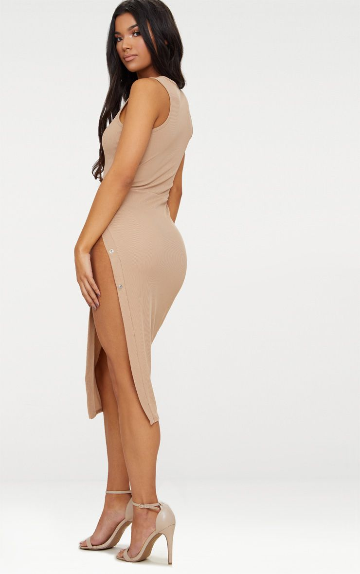 Taupe Ribbed Popper Split Detail Midi Dress Pretty Little Thing Big Sale Online Discount Geniue Stockist Buy Cheap Best Wholesale Extremely Sale Online Pre Order IrnYATl