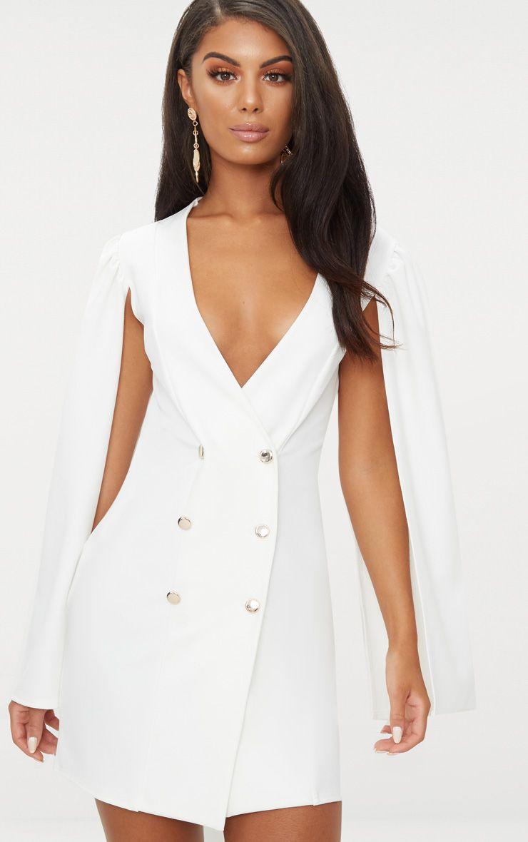 White Cape Button Detail Blazer Dress